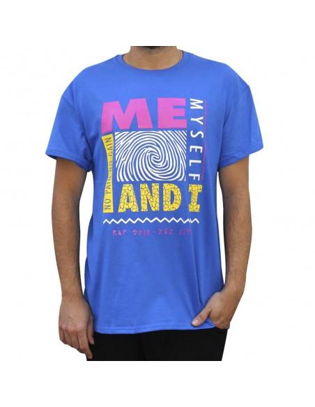 """Camiseta NO PAIN NO GAIN """"ME, MYSELF AND I"""" unisex en algodón en color azul"""
