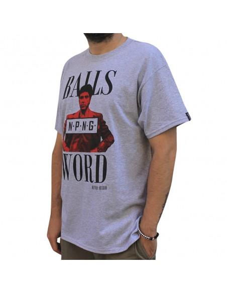 """Camiseta hombre NO PAIN NO GAIN """"MY BALLS AND MY WORD"""" en algodón, color gris"""