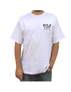 Camiseta VIOLADORES DEL VERSO GENIOS99 unisex, de algodón en color blanco