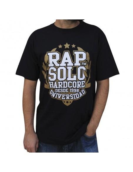 Camiseta RAPSOLO UNIVERSIDAD NEGRA unisex, en algodón color negro