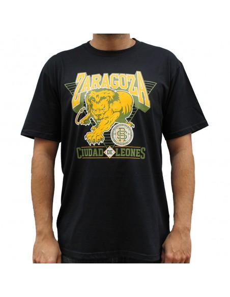 Camiseta ZGZ CIUDAD DE LEONES unisex, en algodón color NEGRO